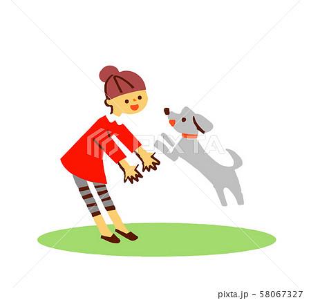 犬と遊ぶ女の子 58067327