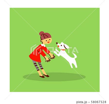 犬と遊ぶ女の子 58067328