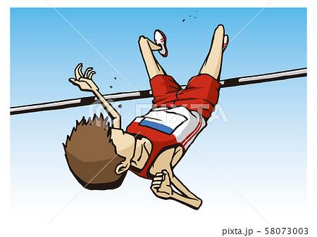 陸上競技 男子 走高跳 イラスト 58073003