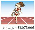 陸上競技 女子 短距離走 イラスト 58073006