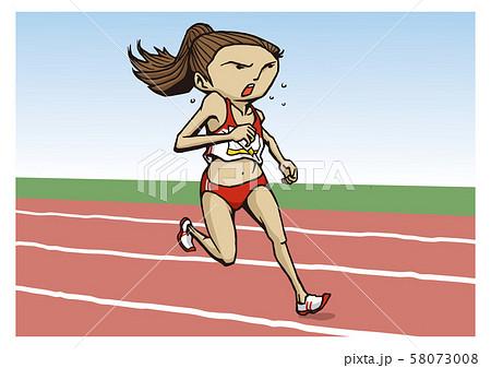 陸上競技 女子 中距離走 イラスト 58073008