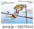 陸上競技 女子 棒高跳 イラスト 58073010