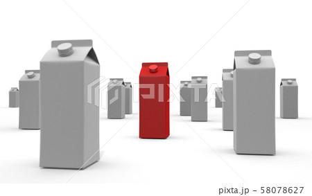 牛乳パック 赤色 3Dイラスト 58078627