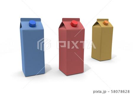 牛乳パック 3本 3Dイラスト 58078628