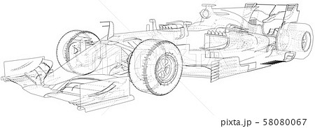 Model speed car. Wire-frame. EPS10 format. Vector rendering of 3d 58080067