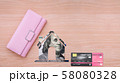 Pink wallet, house dollar symbol and credit card 58080328