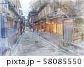 日本の秋 京都 祇園 巽橋と伝統的建造物群 58085550
