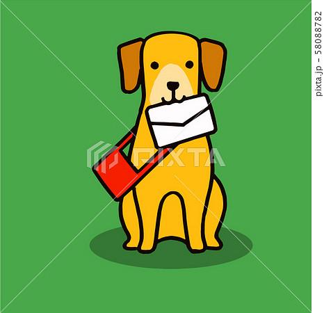 手紙を咥える犬 58088782