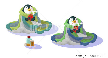 Penguin in a blanket with a mug hot tea and drugs. Recovers for cold 58095208