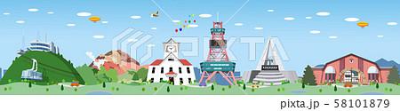 観光名所横並び 北海道 58101879