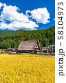 《岐阜県》白川郷合掌造り集落・秋の収穫シーズン 58104973