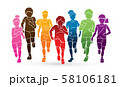 Group of Children running together cartoon graphic vector 58106181