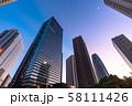 《東京都》東京の夜明け・新宿副都心 58111426