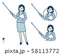 simple suit business woman_pointing stick A 58113772