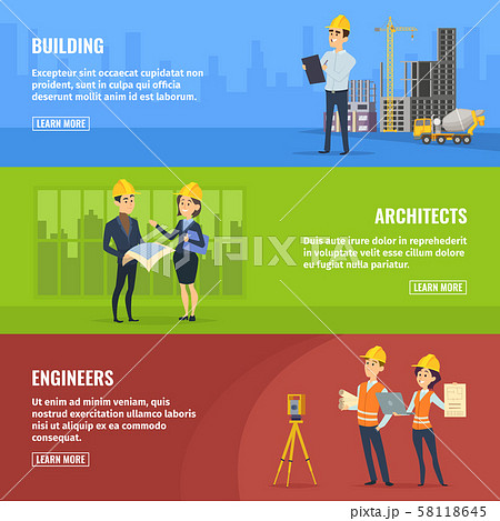 Illustrations for banners of builders architects and engineers 58118645