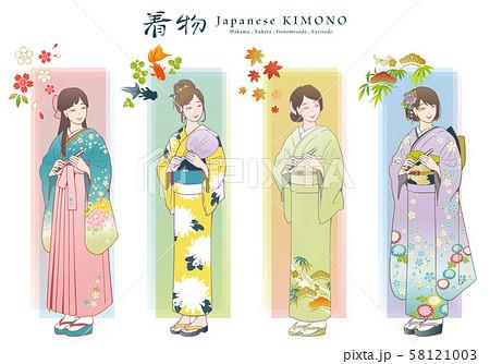 着物のベクターイラストセット(袴・浴衣・色留袖・振袖) 58121003