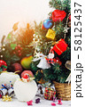 Christmas background with decorations and gift 58125437