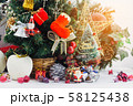 Christmas background with decorations and gift 58125438