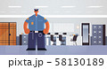 officer standing pose policeman in uniform security authority justice law service concept modern 58130189