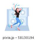 woman dancing female dancer enjoying dance party girl having fun hi-fi audio speakers background 58130194