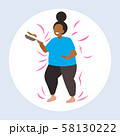 fat obese woman cooking pancakes in frying pan unhealthy nutrition obesity concept overweight 58130222