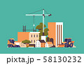 modern construction site with cranes tractor and bulldozer unfinished building exterior flat 58130232