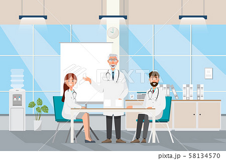 Medical concept with doctor and patients in flat 58134570