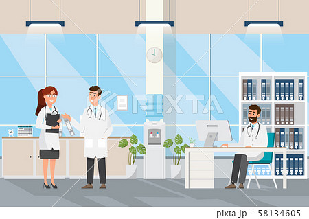 Medical concept with doctor and patients in flat 58134605