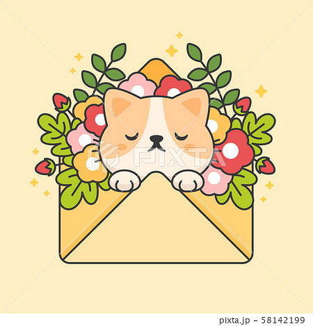 Cute cat in an envelope with flowers and leaves 58142199