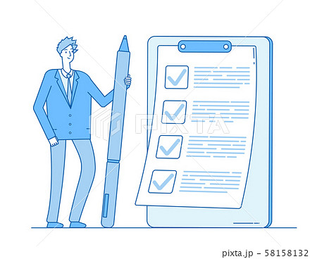 Checklist businessman. Person holding pencil at task list on clipboard. Complete questionnaire exam 58158132