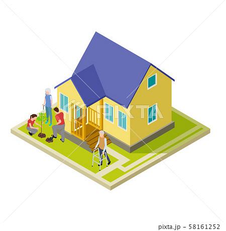 Volunteers help an older couple with garden work isometric vector illustration 58161252