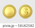 Vector 3d Realistic Golden Metal Coin Icon Set, Blank and with Dollar Sign, Closeup Isolated on 58162582