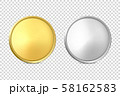 Vector 3d Realistic Blank Golden and Silver Metal Coin or Medal Icon Set Closeup Isolated on 58162583
