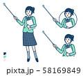 simple school girl Green Blazer_pointing stick A 58169849