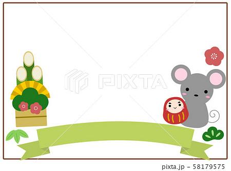 門松とネズミの年賀状な四角いフレームのイラスト素材