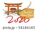 年賀状デザイン・初詣・伏見稲荷大社 58184165