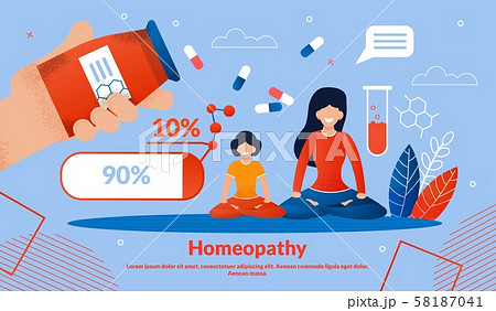 Homeopathy Medicines Flat Vector Banner Template 58187041