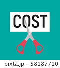 Hand scissors cutting word COST. Sale concept. 58187710