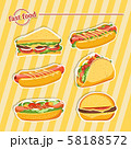 Fast food hamburger, tasty set fast food vector 58188572