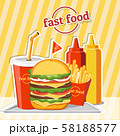 Fast food hamburger, tasty set fast food vector 58188577