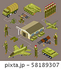 Military base isometric vector concept with soldiers and military venicles 58189307