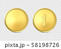 Vector 3d Realistic Blank Golden and Silver Metal Coin or Medal Icon Set Closeup Isolated on 58198726