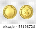 Vector 3d Realistic Golden Metal Coin Icon Set, Blank and with Dollar Sign, Closeup Isolated on 58198728
