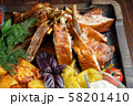 Barbecue on the bones with vegetables and potatoes . catering menu 58201410