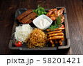 BBQ on pita bread. restaurant menu 58201421