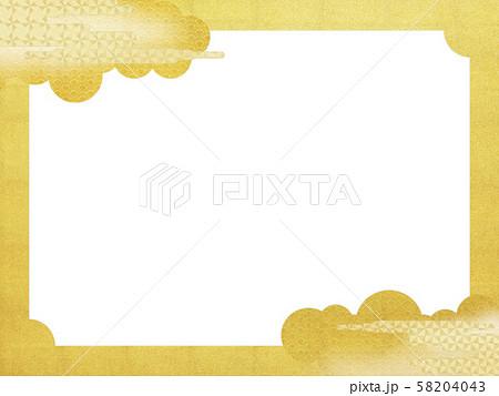 背景-和-和風-和柄-和紙-金箔-雲-霞-波-フレーム 58204043