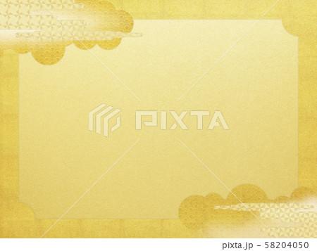 背景-和-和風-和柄-和紙-金箔-雲-霞-波-フレーム 58204050