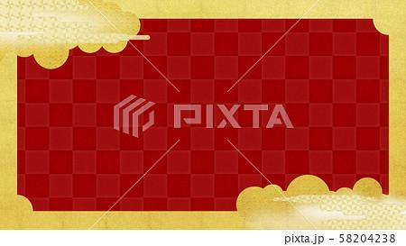 背景-和-和風-和柄-和紙-金箔-雲-霞-波-フレーム-赤 58204238