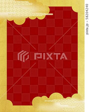 背景-和-和風-和柄-和紙-金箔-雲-霞-波-フレーム-赤 58204240