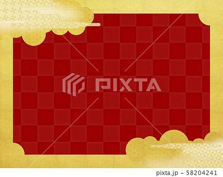 背景-和-和風-和柄-和紙-金箔-雲-霞-波-フレーム-赤 58204241